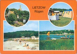 Lietzow (Rügen) Teilansicht, Zeltplatz, Strand am Bodden, Anlegestelle 1984