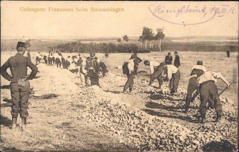 Königsbrück Kinspork Gefangene Franzosen beim Steinschlagen Ansichtskarte 1916