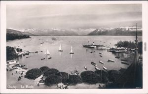 Ouchy Lausanne La Rade/der Hafen mit Segelbooten und Dampfer 1930