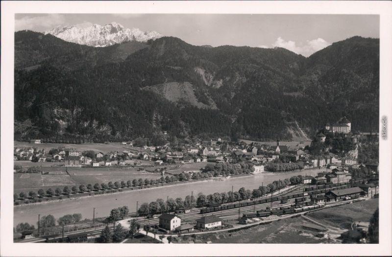 Kufstein Unterinntal mit Kaisergebirge mit Bahnhof 1934