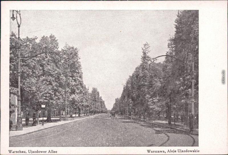 Warschau Warszawa Ujazdower Allee Ansichtskarte 1918