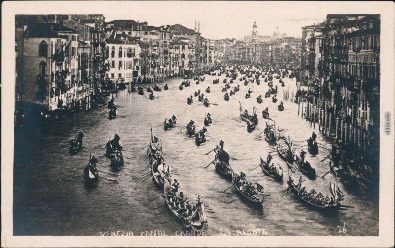 Venedig Venezia Canal Grande  - Regatta Foto Ansichtskarte 1928
