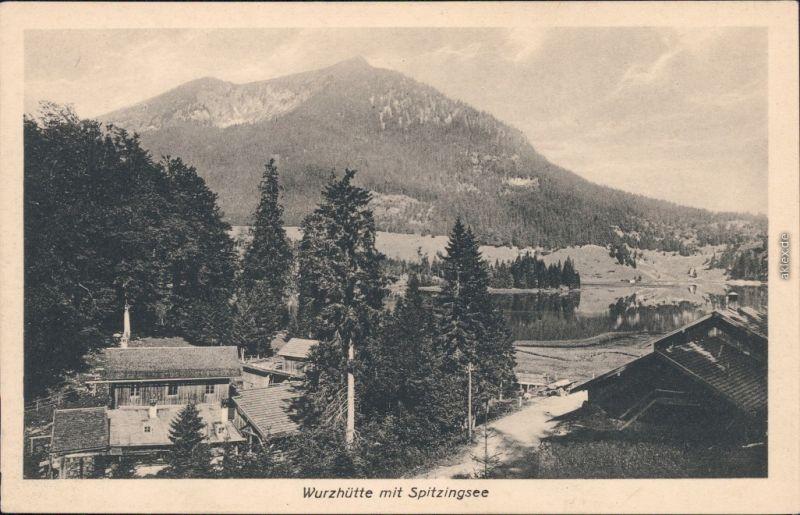 Spitzingsee Schliersee Partie an der Wurzhütte mit Spitzingsee 1916