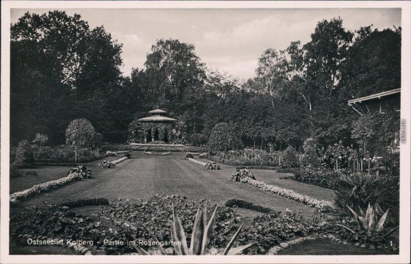 Kolberg Kołobrzeg Partie im Rosengarten Pavillon Ansichtskarte  1932