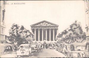 Paris La Madeleine  - siegnierte Künstlerkarte 1965