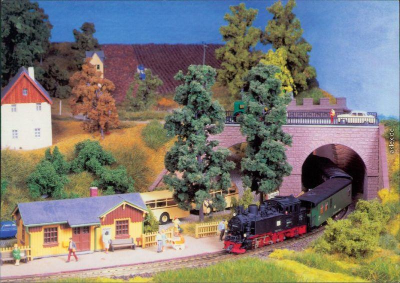 Schmalspurbahnidylle - Dampflok fährt in den Bahnhof ein Ansichtskarte 1996