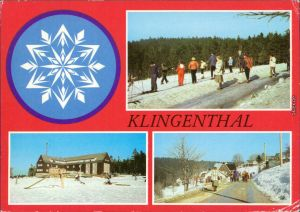 Klingenthal Auf der Piste - Skifahrer, Gasthaus, Blick auf die Stadt 1981