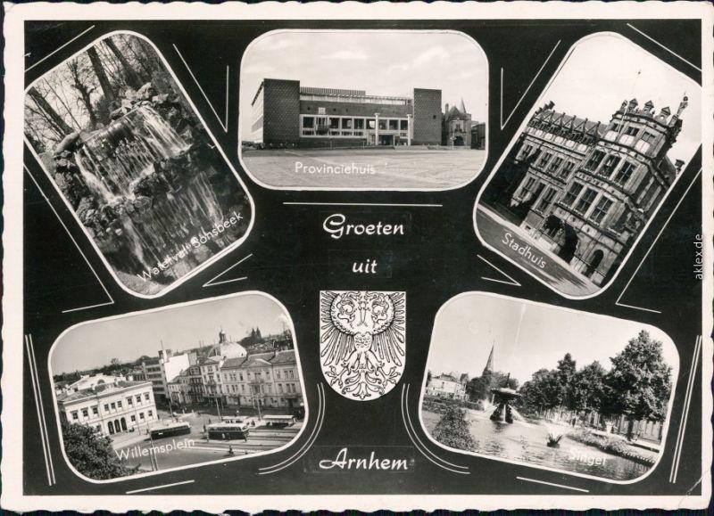 Arnheim Arnhem Waterval, Provinviehuis, Stadhuis, Willemsplein, Singel 1958