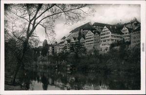 Tübingen Neckaransicht mit Schloss Hohentübingen 1930