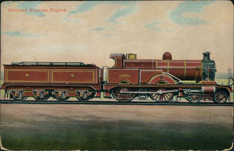 englische Eisenbahn: Midland Express Engine Postcard Anichtskarte 1900
