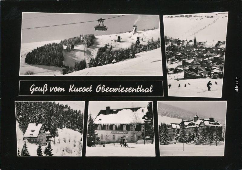 Oberwiesenthal dem Umland mit Blick auf die Seilbahn - winterliche Szene 1965