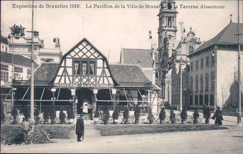 Brüssel Bruxelles Exposition - La Pavillon Taverna Alsacienne CPA 1910