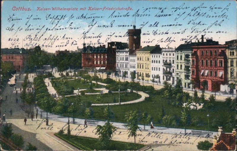 Cottbus Choćebuz Kaiser-Wilhelm-Platz, Kaiser Friedrich Straße 1914