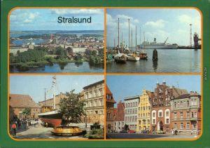 Stralsund   zum Dänholm  Hafen, 17-m-Kutter am Meeresmuseum Hafen 1987