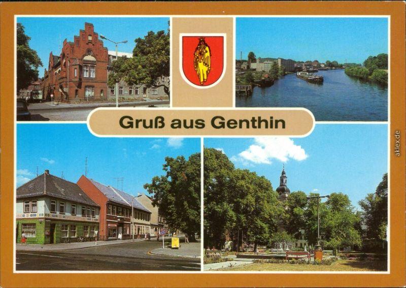 Genthin Rathaus, Plauer Kanal, Ernst-Thälmann-Platz, Ernst-Thälmann-Straße 1985