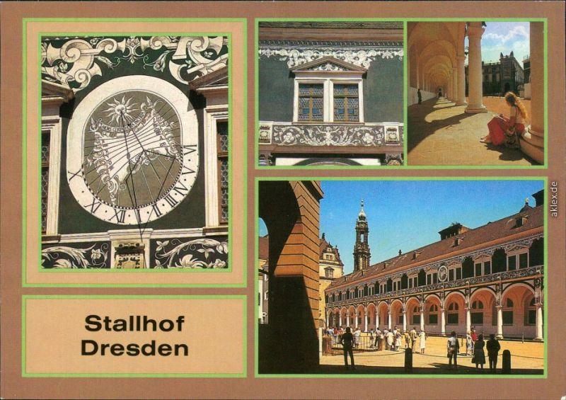 Altstadt Dresden Sonnenuhr, Fassadendetail am Langen Gang, Langer Gang 1986