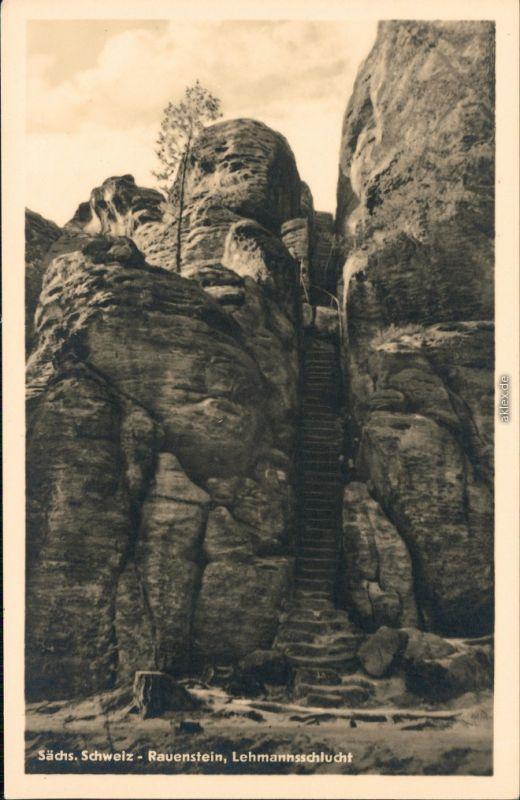 Struppen (Sächsische Schweiz) Lehmannsschlucht 1954