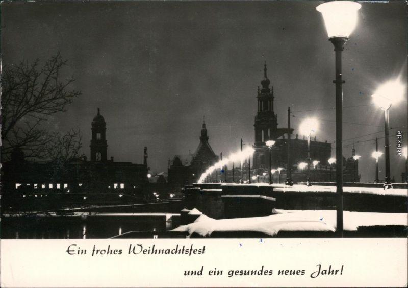 Innere Altstadt-Dresden Augustusbrücke / Friedrich August Brücke im Winter 1977