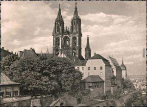 Ansichtskarte Meißen Dom von der Seite mit Gebäuden und Fernblick 1962