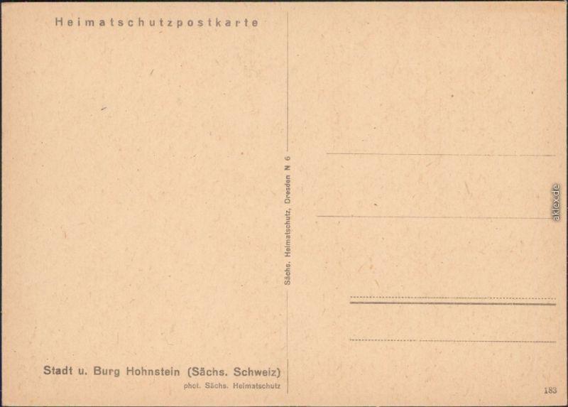 Hohnstein  Burg Hohnstein (Sächsische Schweiz) - Außen  1930 1