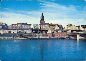 Landsberg (Warthe) Gorzów Wielkopolski Panorama-Ansicht, Warthe mit Schiff 1972