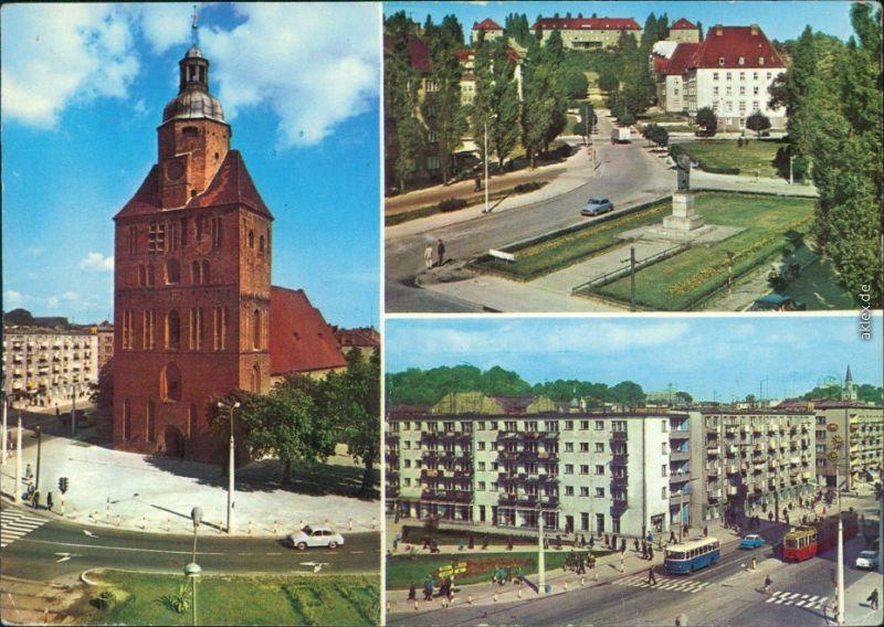 Landsberg (Warthe) Gorzów Wielkopolski  Straße mit Denkmal   Wohnhäuser  1971