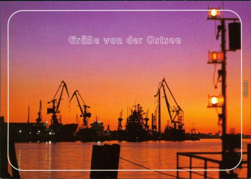 Rostock Grüße von der Ostsee: Hafen Werft Abenddämmerung  1987