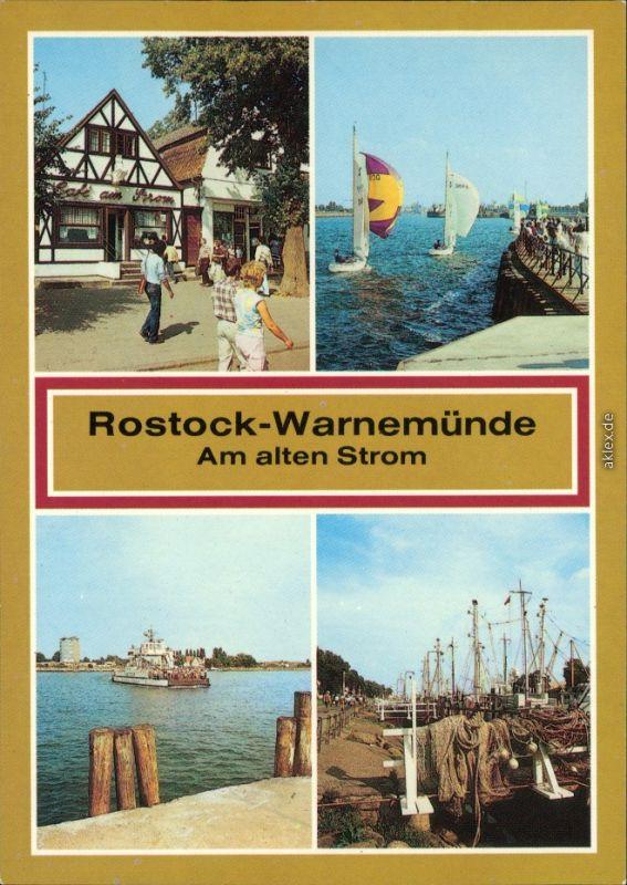 Warnemünde Rostock Café am Strom, Segelboote  Fähre  Ostsee Alten Strom 1988