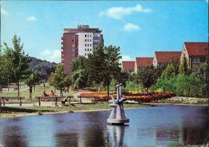 Eisenhüttenstadt Stalinstadt  Diehloer Straße - mit Parkanlage und Teich 1976