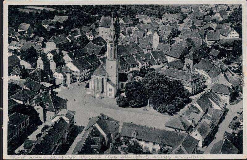 Markdorf Luftbild Fliegeraufnahme, Markt mit Kirche  b Konstanz 1937