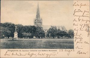 Singapur St. Andrews Cathedral and Raffle's Monument Vintage Postcard 1903