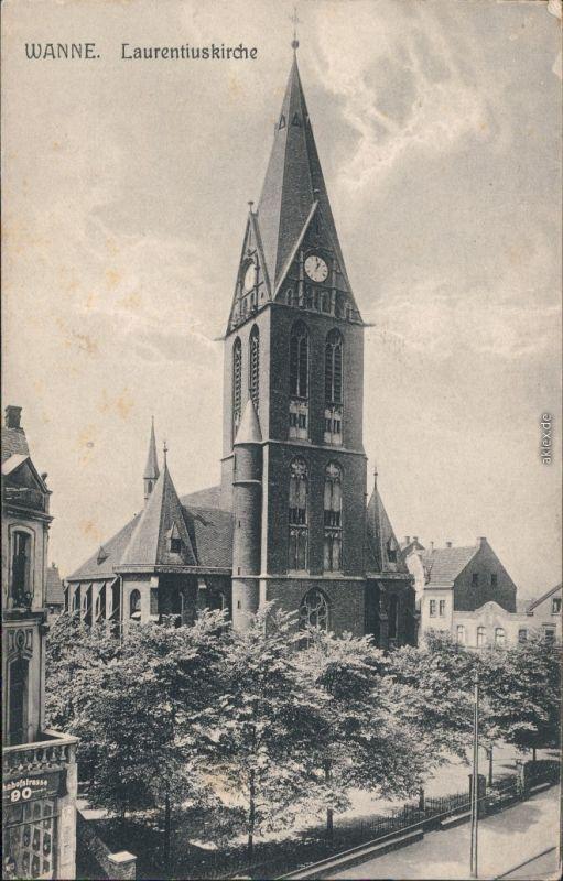 Wanne Eickel Herne St. Laurentiuskirche Straßenpartie 1916