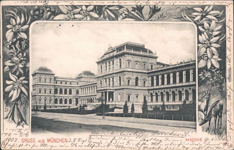 München Kunstakademie von der Straße Blumenornament Ansichtskarte 1902