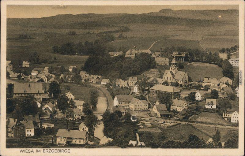 Wiesa Erzgebirge Wiesenbad Stadtpartie Ansichtskarte 1924