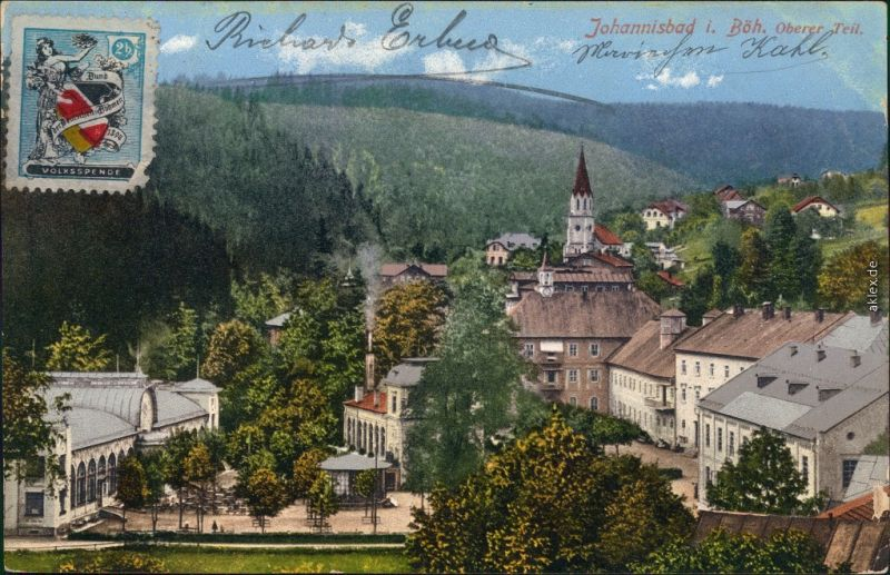 Johannisbad Janské Lázně Detailansicht vom Oberen Teil 1910