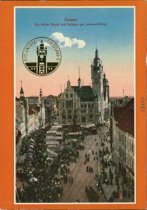 Dessau Rathaus mit Marktplatz - reges Treiben 1911/1988