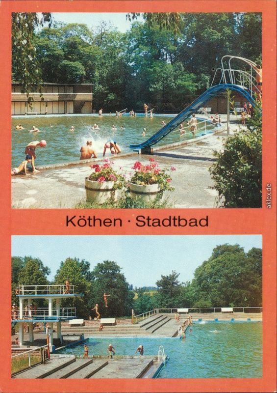 Köthen Stadtbad mit Rutsche und Sprungturm Ansichtskarte 1989