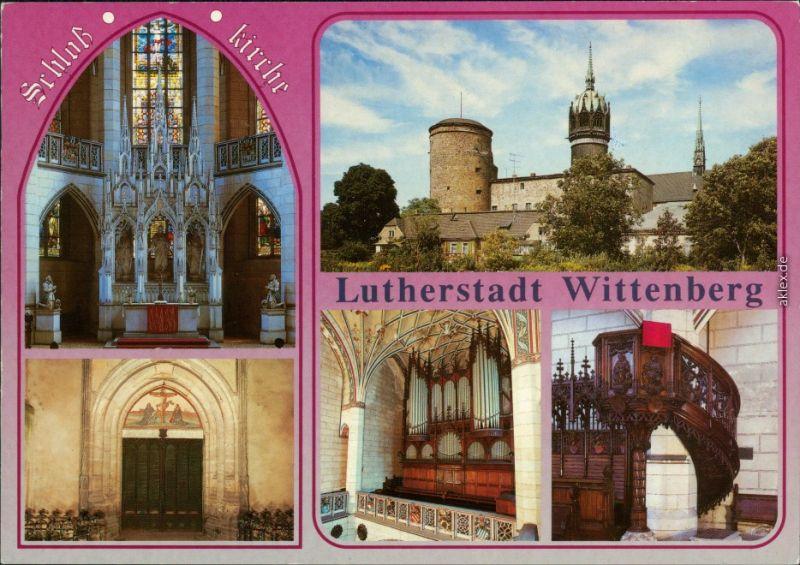 Wittenberg Evangelische Schloßkirche: Altar, Schloss, Thesentüre von   1987