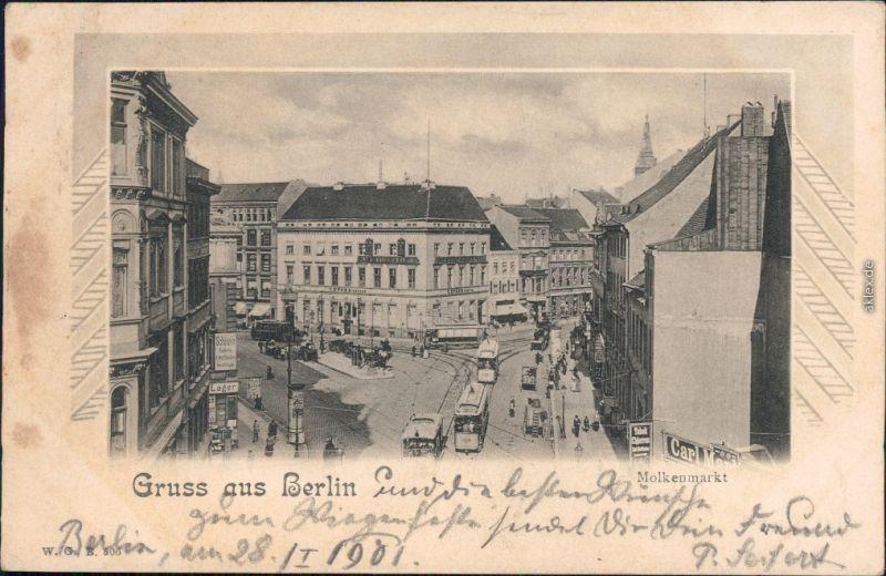 Mitte Berlin Molkenmarkt - Geschäfte- Nikolaiviertel Ansichtskarte  1901