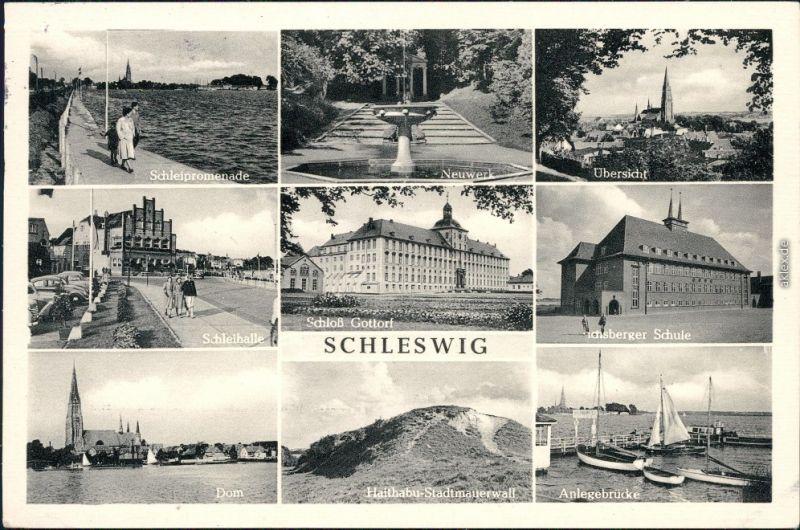 Schleswig  Schleipromenade, Neuwerk, Übersicht, Schleihalle  Anlegebrücke 1954