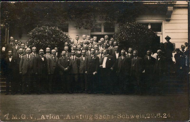 Ansichtskarte Bad Schandau M.G.V. Arion - Ausflug Säschsische Schweiz 1924