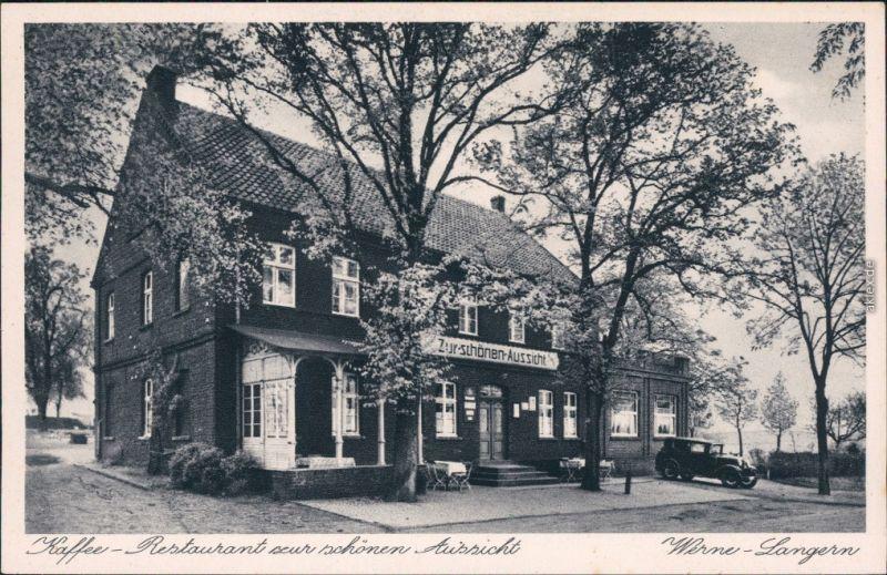 Ansichtskarte Langern-Werne Partie am Restaurant zur schönen Aussicht 1932