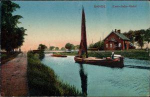 Ansichtskarte Sande Haus, Kahn Ems-Jade-Kanal 1918