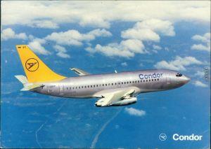 Ansichtskarte  Boing 737-230 im Flug (Condor) - Silber 1986