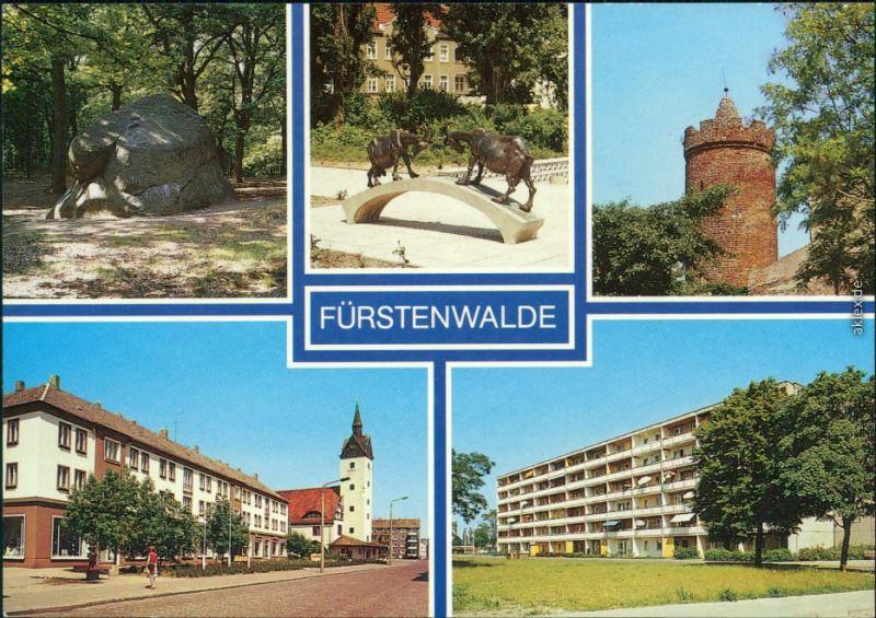 Fürstenwalde Rauenscher Stein, Tierplastik, Bullenturm  Wolkow-Straße 1988