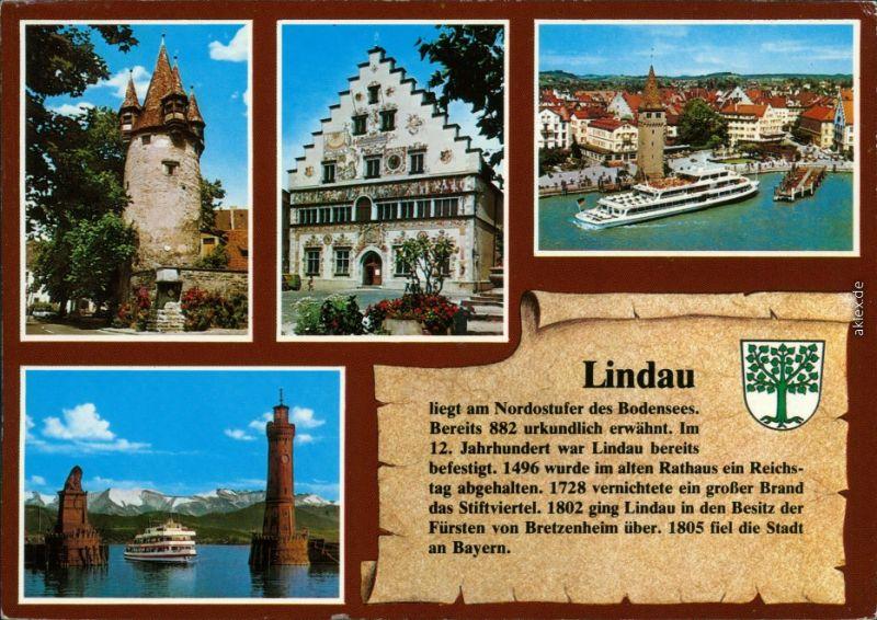 Lindau (Bodensee) Hafeneinfahrt, Mangenturm, Diebsturm, Altes Rathaus 1995