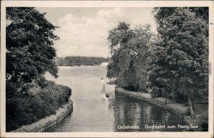 Ansichtskarte Grünheide (Mark) Durchfahrt zum Peetzsee mit Booten 1963