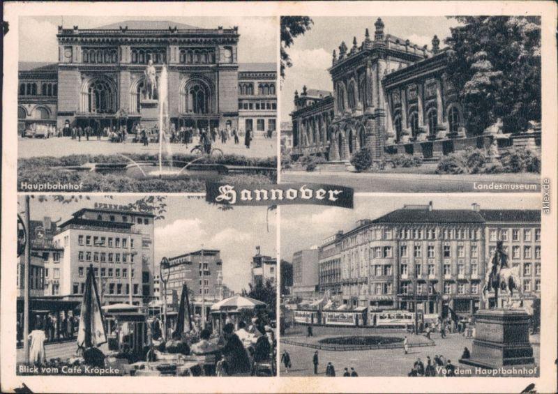 Hannover Hauptbahnhof, Landesmuseum, Café Kröpcke, Vorm Hauptbahnhof 1955