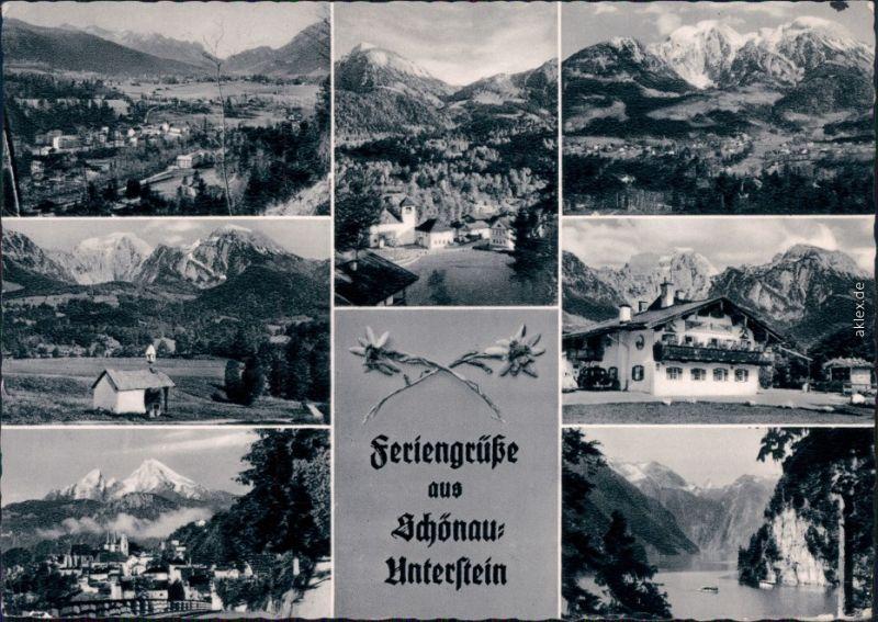 Schönau am Königssee Überblick, Kapelle, Ferienhotel, Stadtblick, Königssee 1967