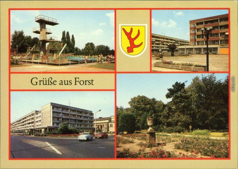 Forst (Lausitz) Baršć Schwimmstadion   Berliner Straße, Berliner Straße 1988